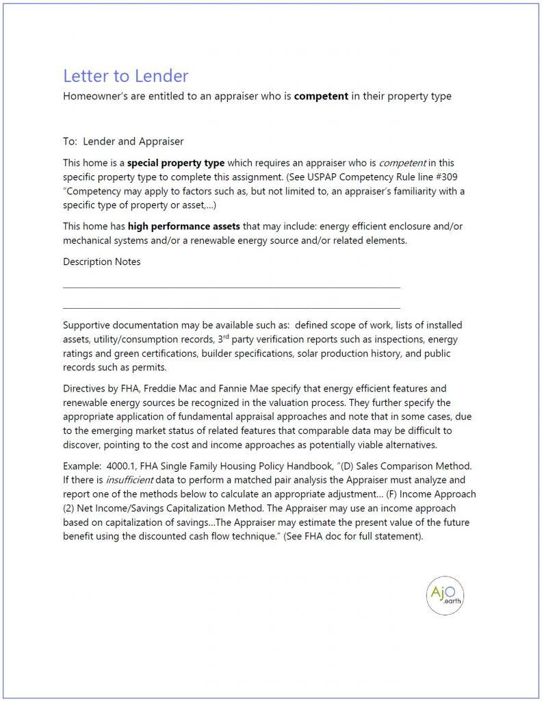 Letter to Lender